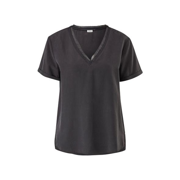 Bluse mit Chiffonblende - Modalmix-Bluse