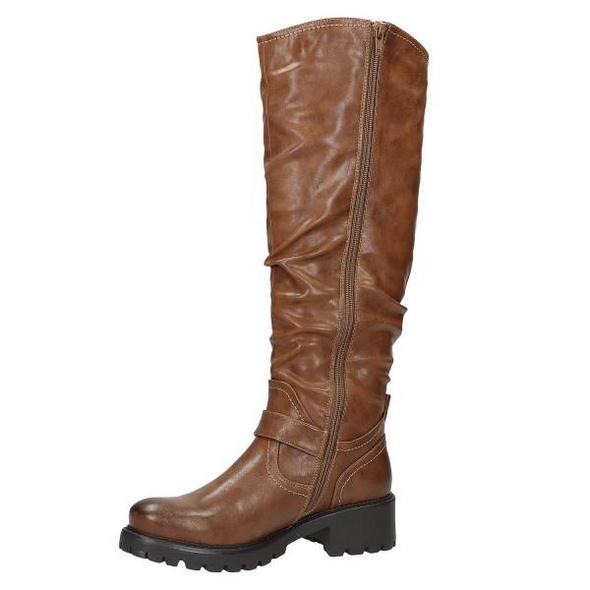 Stiefel aus cognacbraunem Glattlederimitat