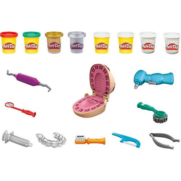 Play-Doh Zahnarzt Dr. Wackelzahn, Spielset mit Kariesknete und metallfarbener Knete, 10 Knetwerkzeugen, 8 Dosen à 56 g
