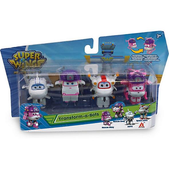 Super Wings Transform-a-Bots 4-er Set: Rescue Dizzy, Zoey, Astra, Astro