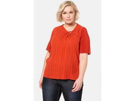 Ulla Popken Shirtbluse, Zierring, Halbarm, reine Baumwolle - Große Größen