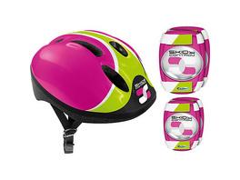 Helm + Ellenbogen- & Knieschutz - Skids Control, pink