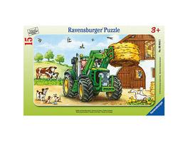Rahmen-Puzzle, 15 Teile, 25x14,5 cm, Traktor auf dem Bauernhof