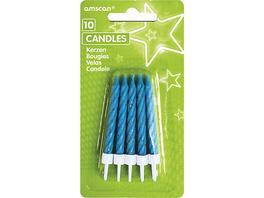 Kerzen blau/glitter, 10 Stück