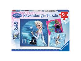 3er Set Puzzle, je 49 Teile, 21x21 cm, Disney Die Eiskönigin: Elsa, Anna & Olaf