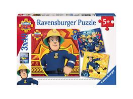3er Set Puzzle, je 49 Teile, 21x21 cm, Feuerwehrmann Sam: Bei Gefahr Sam rufen